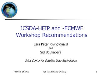 JCSDA-HFIP and -ECMWF Workshop Recommendations