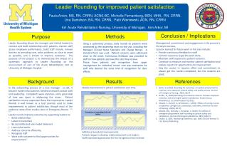 Leader Rounding for  improved  patient  satisfaction