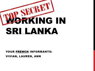 Working in Sri Lanka