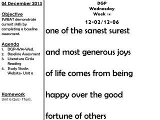 DGP Wednesday Week 14 12-02/12-06