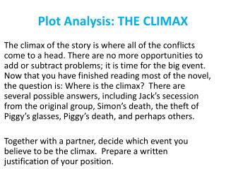 Plot Analysis: THE CLIMAX