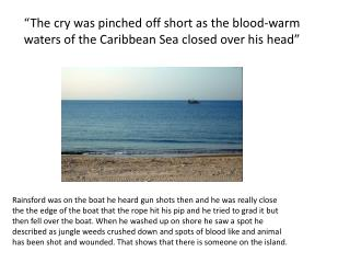 """The cry was pinched off short as the blood-warm waters of the Caribbean Sea closed over his head"""