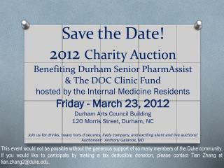 12th annual Charity Auction save the date