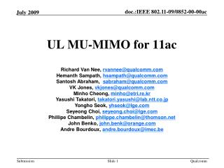 UL MU-MIMO for 11ac