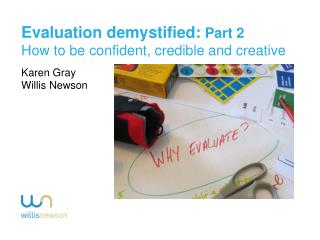 Evaluation demystified:  Part 2 How to be confident, credible and creative Karen Gray
