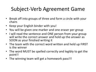 Subject-Verb Agreement Game