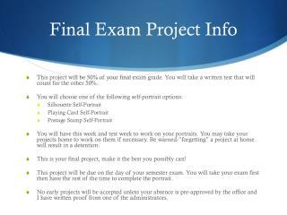 Final Exam Project Info