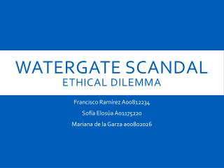 WATERGATE SCANDAL ethical dilemma