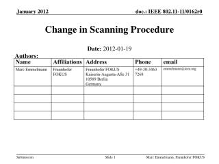 Change in Scanning Procedure