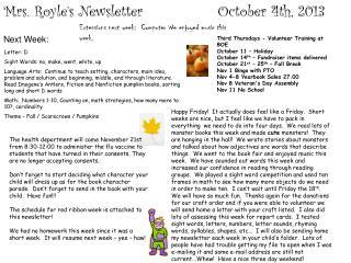 Mrs.  Royle�s  Newsletter                 October 4th, 2013