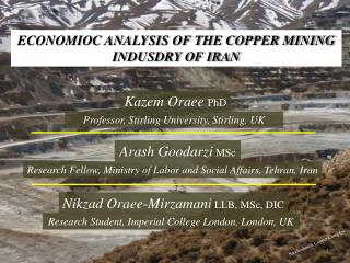 ECONOMIOC ANALYSIS OF THE COPPER MINING INDUSDRY OF IRAN