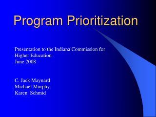 Program Prioritization