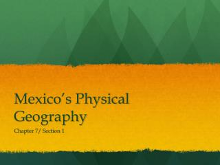 Mexico's Physical Geography