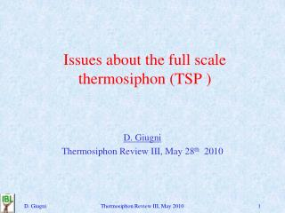 Issues about the full scale thermosiphon (TSP )