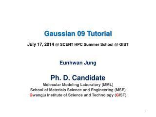 Gaussian 09 Tutorial