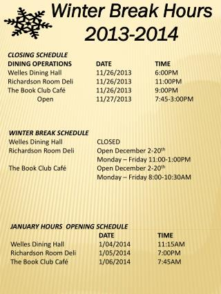 Winter Break Hours 2013-2014