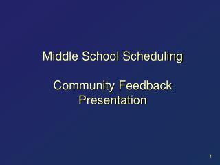 Middle School Scheduling Community Feedback Presentation