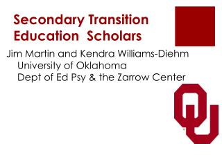 Secondary Transition Education  Scholars