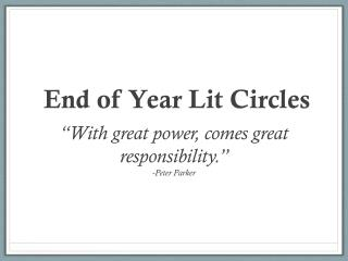 End of Year Lit Circles