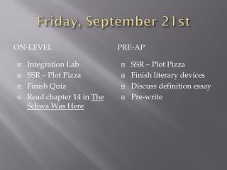 Friday, September 21st