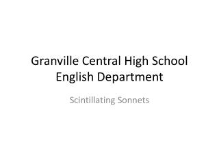 Granville Central High School English Department