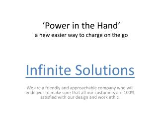 'Power in the Hand' a new easier way to charge on the go