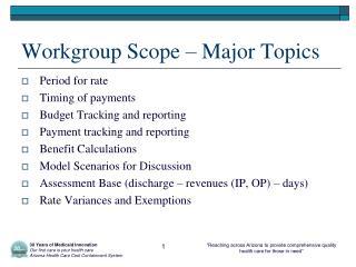 Workgroup Scope – Major Topics