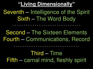 """ Living Dimensionally "" Seventh  –  Intelligence of the Spirit Sixth  –  The Word Body"