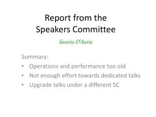 Report from the  Speakers Committee