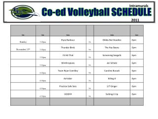 Co-ed Volleyball SCHEDULE