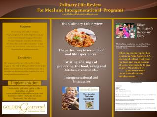 Culinary Life Review F or Meal and Intergenerational  Programs GoldenCuisineCookbook