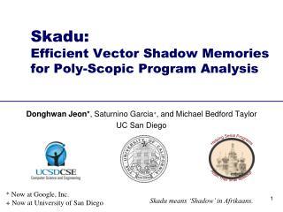 Skadu : Efficient Vector Shadow Memories  for Poly- Scopic  Program Analysis
