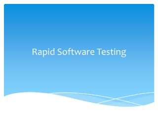 Rapid Software Testing