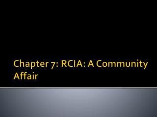 Chapter 7: RCIA: A Community Affair