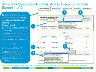 Bill to ID - Manage by Number: Add to Cisco Profile Screen 1 of 2