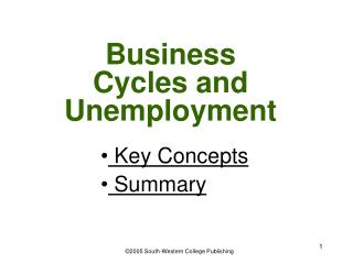 Business Cycles and Unemployment