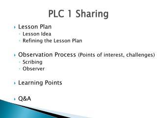 PLC 1 Sharing
