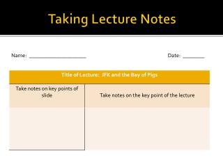 Taking Lecture Notes