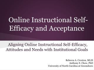 Online Instructional Self-Efficacy and Acceptance