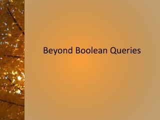 Beyond Boolean Queries