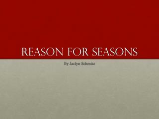 Reason for seasons