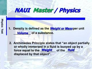 NAUI   Master  / Physics