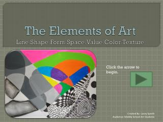 The Elements of Art Line.Shape.Form.Space.Value.Color.Texture