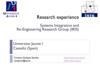 Research experience  Systems Integration and  Re-Engineering Research Group (IRIS)