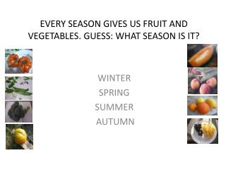 EVERY  SEASON GIVES  US FRUIT AND VEGETABLES. GUESS: WHAT SEASON IS IT?