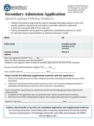 Secondary Admission Application Speech-Language Pathology Emphasis