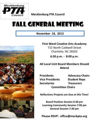 Mecklenburg PTA Council  Fall General Meeting
