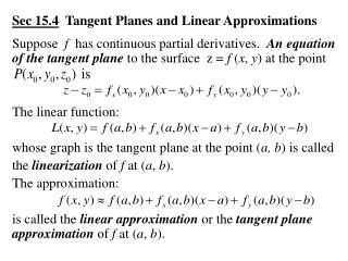 Sec 15.4   Tangent Planes and Linear Approximations