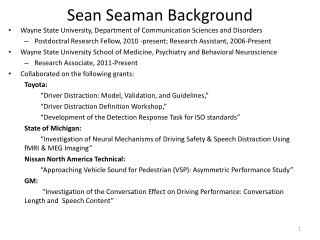 Sean Seaman Background