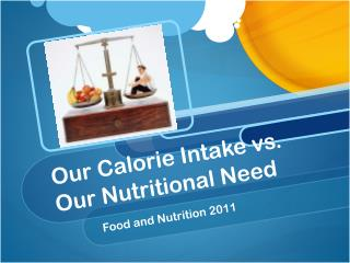 Our Calorie Intake vs. Our Nutritional Need